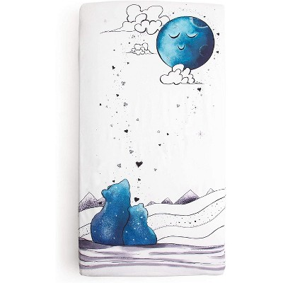 JumpOff Jo Fitted Crib Sheet - Minky Crib Sheet for Standard Sized Crib Mattresses - Hypoallergenic and Waterproof - 28 x 52 Inches - Blue Bear