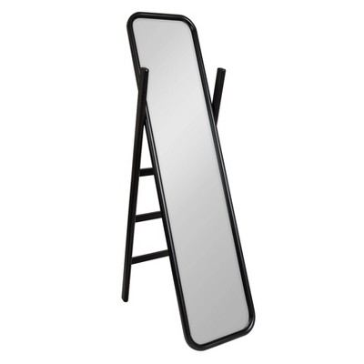 "16"" x 58"" Loki Wooden Standing Ladder Mirror Black - Kate and Laurel"