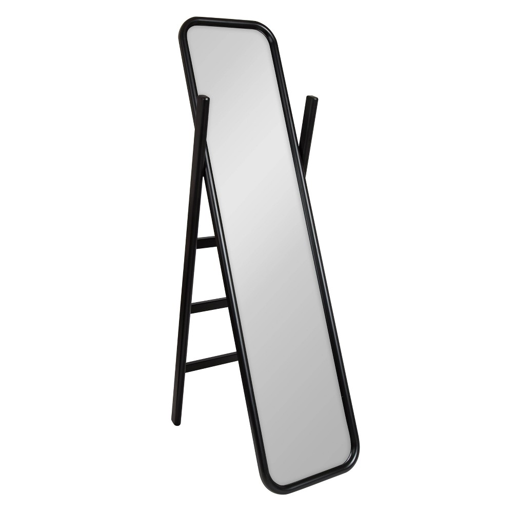"Image of ""16""""x58"""" Loki Wooden Standing Ladder Mirror Black - Kate and Laurel"""