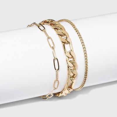 Chain Link Bracelet Set 3pc - A New Day™