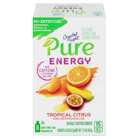 Crystal Light Pure Tropical Citrus Energy Mix - 6pk/0.29oz Stix - image 1 of 3