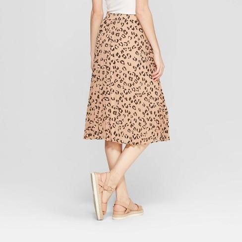 76de58bdba Women's Leopard Print A Line Pleated Midi Skirt - A New Day™ Tan : Target