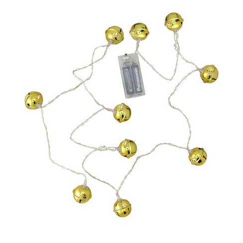 Northlight 10ct Battery Operated LED Jingle Bell Novelty Christmas Lights Clear - 4.6' Clear Wire - image 1 of 3