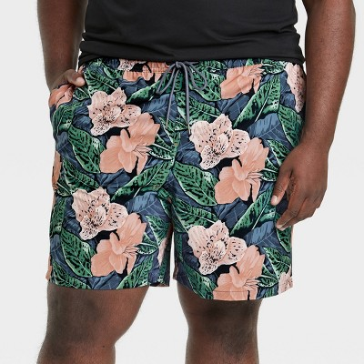 """Men's 7"""" Tropical Swim Trunk with Boxer Brief Liner - Goodfellow & Co™ Pink"""
