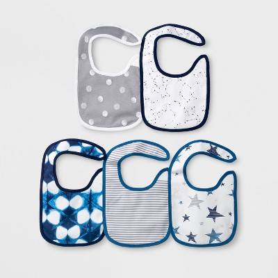 Baby Boys' 5pk Bibs - Cloud Island™ Navy One Size
