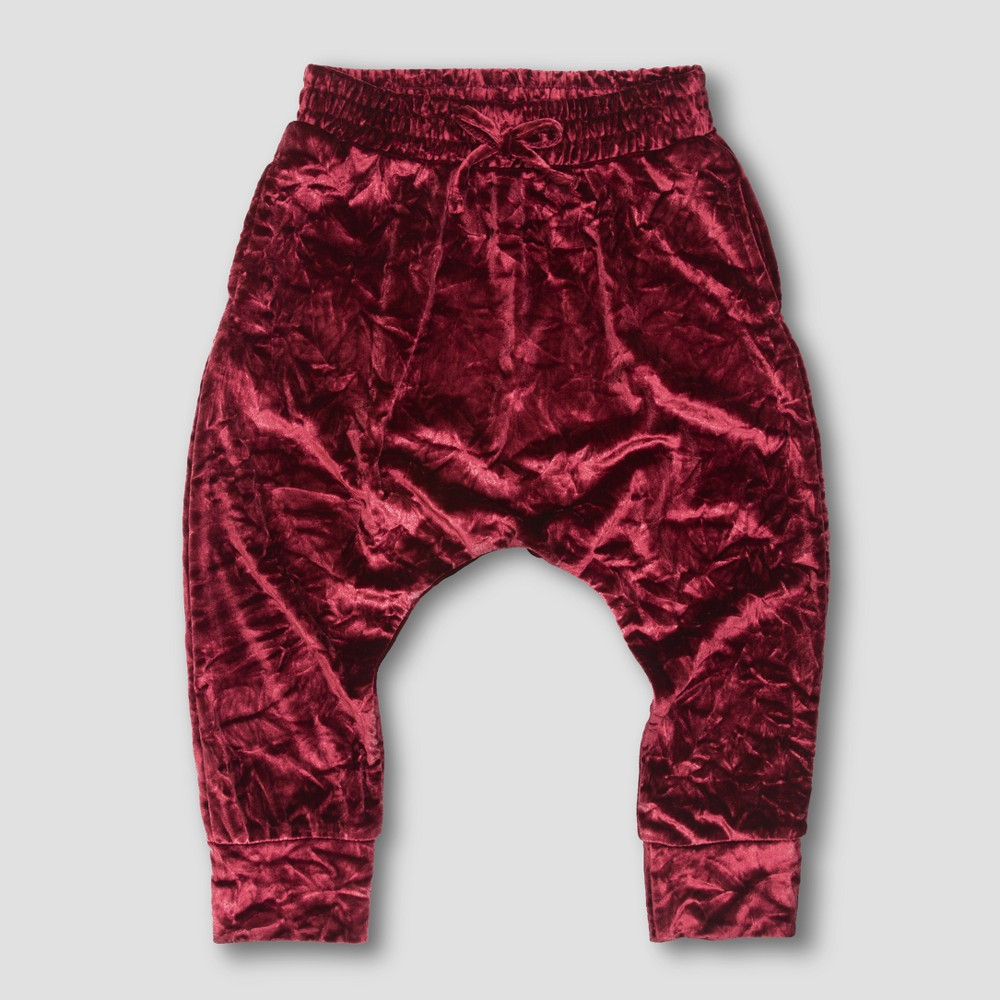 Image of Toddler Girls' Afton Street Velvet Jogger Pants - Burgundy - 18 M, Girl's, Size: Medium, Purple