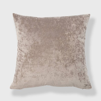 """20""""x20"""" Oversize Soft Crushed Velvet Square Throw Pillow Taupe - freshmint"""