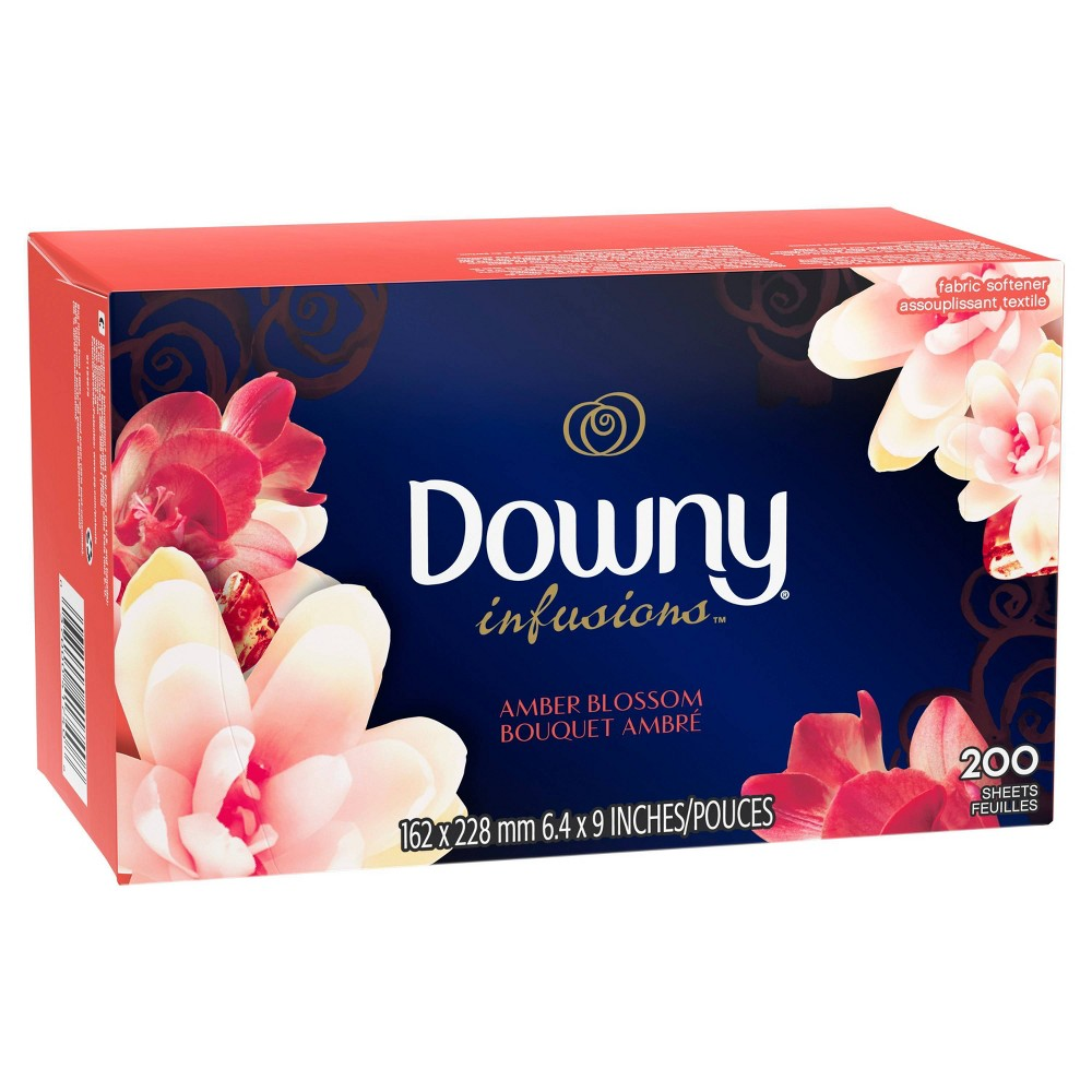 Downy Amber Blossom Dryer Sheets - 200ct Fight static cling and infuse fabrics with an exotic fragrance that gently balances floral scents with notes of citrus and musk with Downy Infusions Amber Blossom Dryer Sheets. Simply drop one into every dryer load.