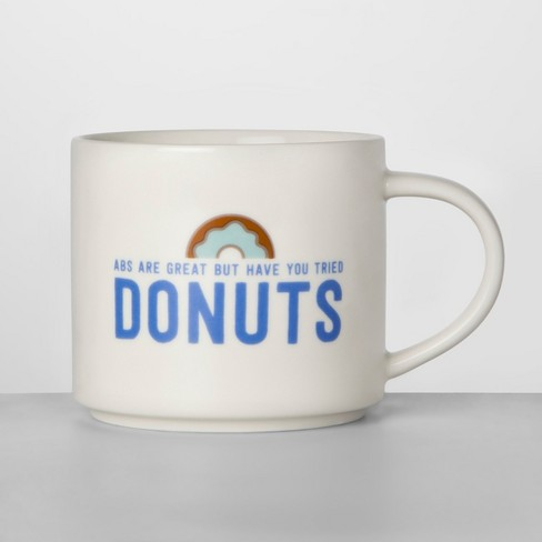 16oz Porcelain Abs Are Great But Have You Tried Donuts Mug White/Blue - Room Essentials™ - image 1 of 1