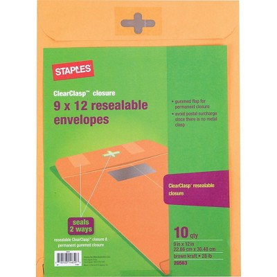 """Staples ClearClasp 9"""" x 12"""" Resealable Brown Kraft Envelopes 10/Pack (901988) SPL901988"""