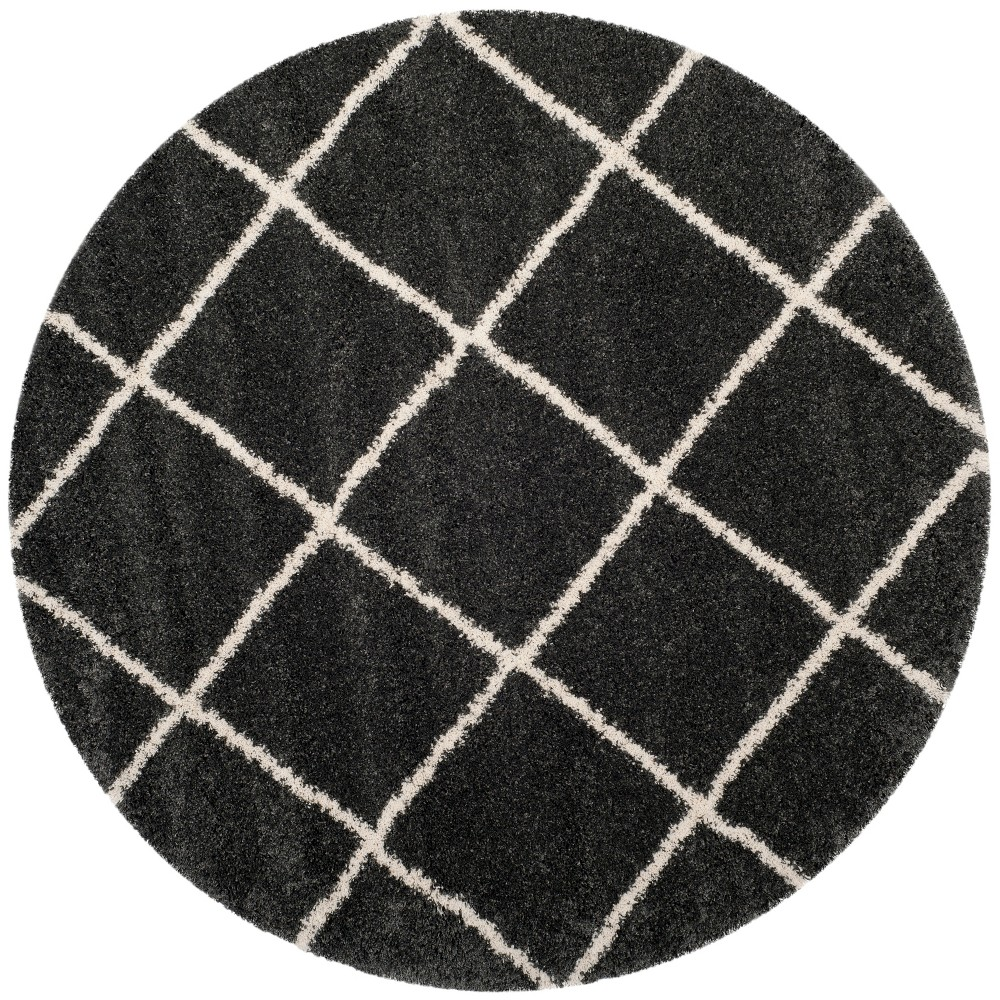 7' Geometric Loomed Round Area Rug Dark Gray/Ivory - Safavieh