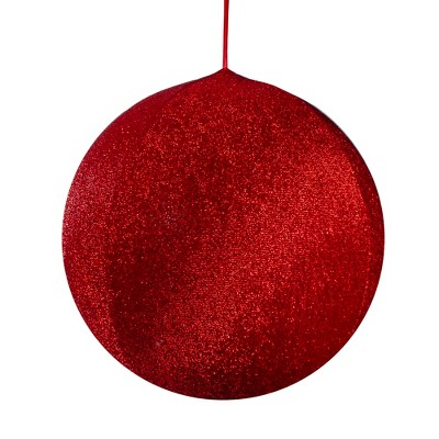 """Northlight 19.5"""" Red Tinsel Inflatable Christmas Ball Ornament Outdoor Decoration"""