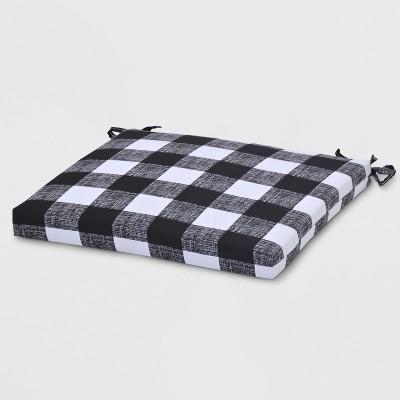 Buffalo Plaid Outdoor Seat Cushion Black - Threshold™