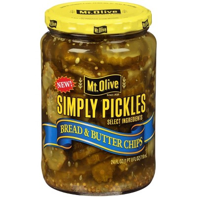 Mt. Olive Simply Pickles Bread & Butter Chips - 24 fl oz