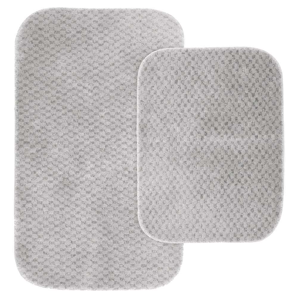 Image of Garland 2 Piece Cabernet Nylon Washable Bath Rug Set - Platinum Gray