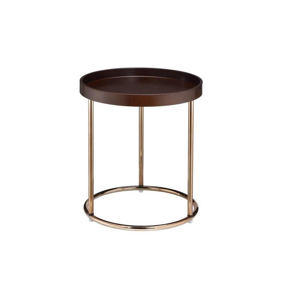 21 75 34 Edie Mid Century Lipped Edge Accent Table Espresso Ore International