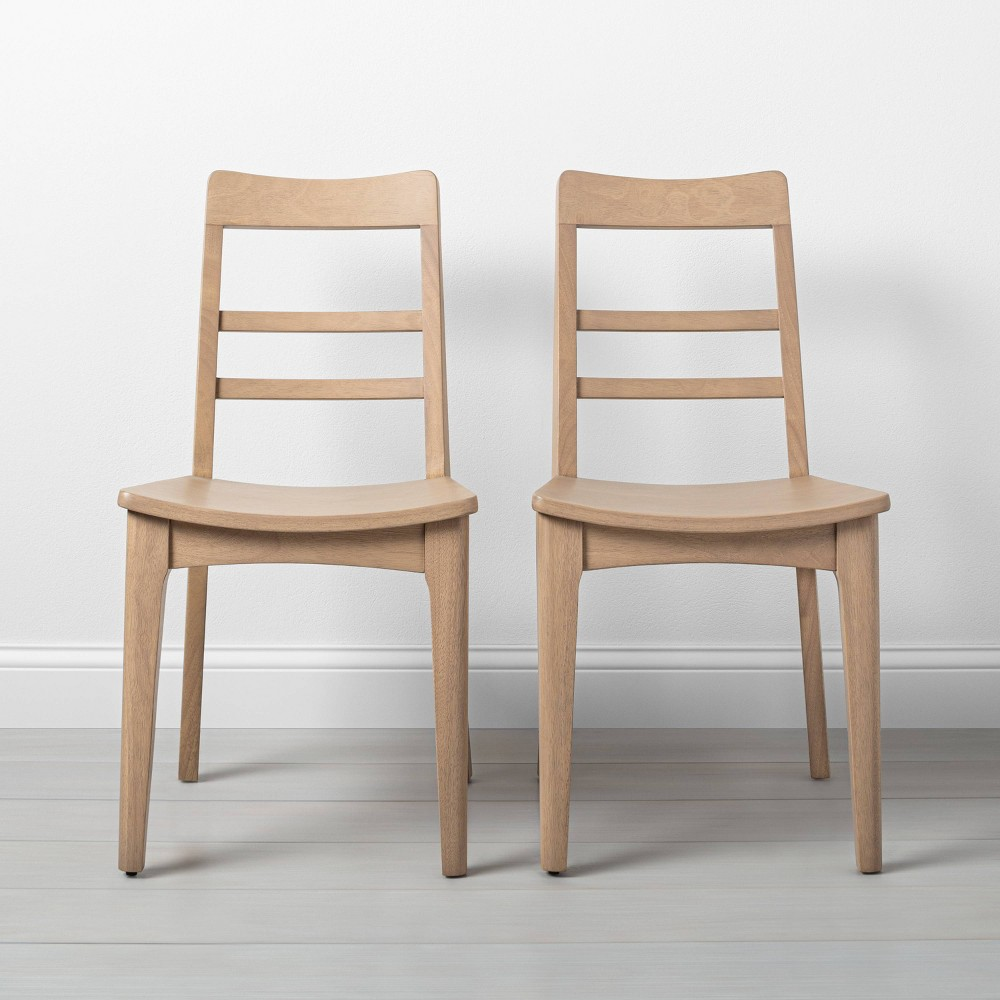 Image of Set of 2 Wooden Ladder Back Dining Chair Natural - Hearth & Hand with Magnolia