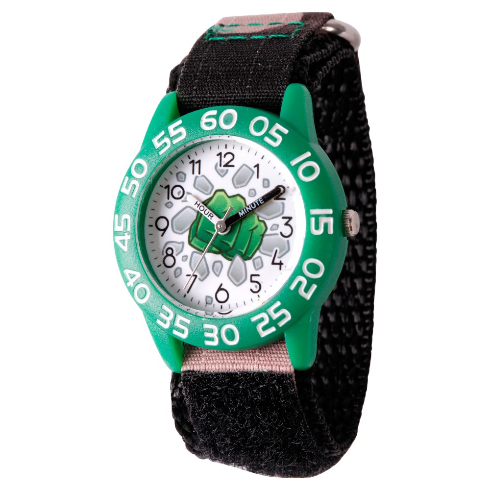 Boys' Marvel Emoji Hulk Fist Plastic Time Teacher Watch - Camo Green, Green/Green thumbnail