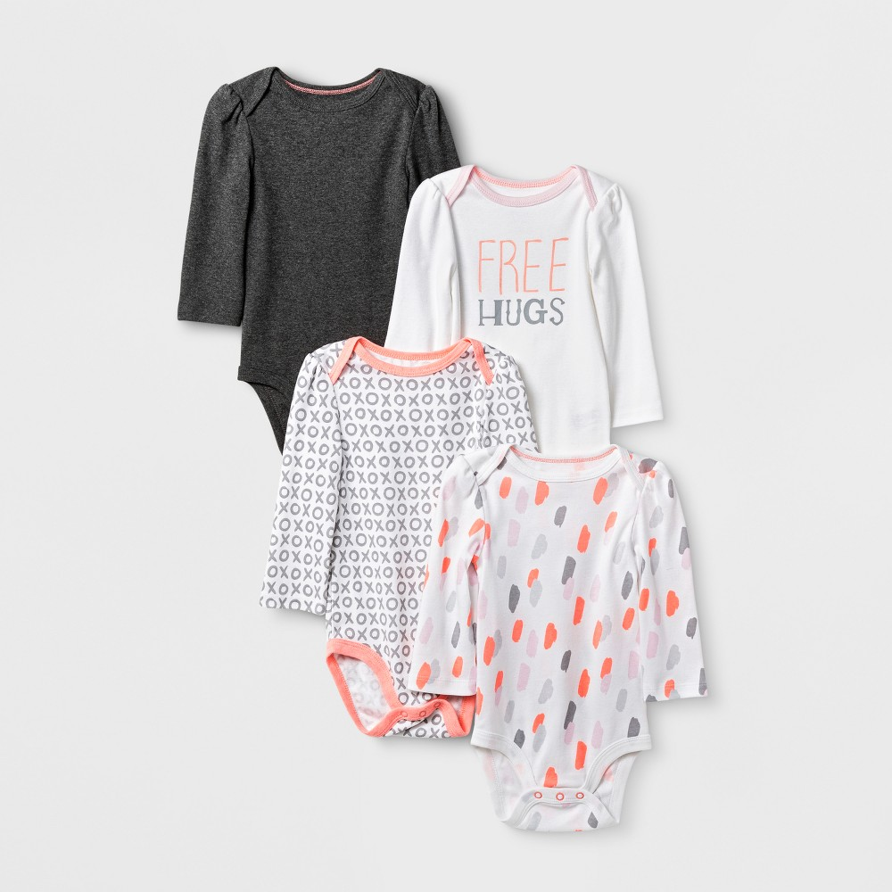 Baby Girls' 4pk Long Sleeve Bodysuit White/Gray 24M - Cloud Island