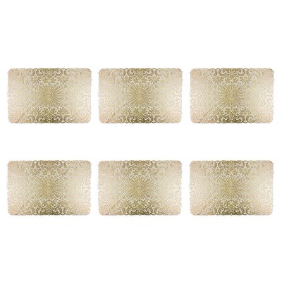 Set of 6 Lace Placemat Gold - Design Imports