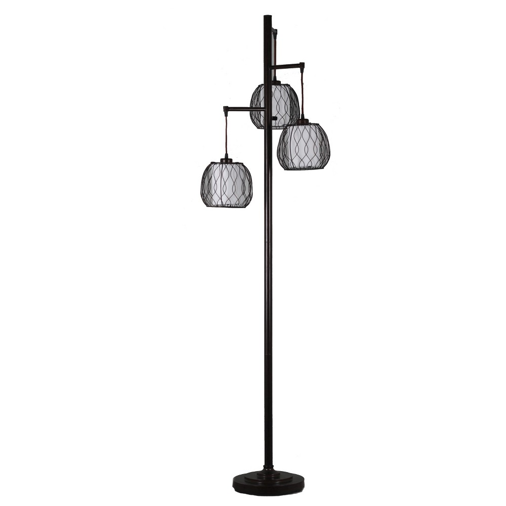Image of 72 3 Lights Floor Lamp Black/White (Lamp Only) - Home Source