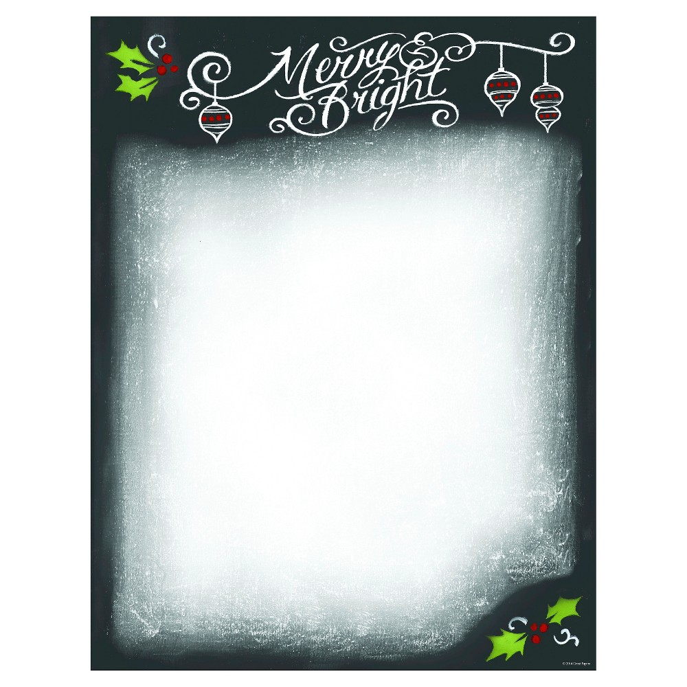 80ct Merry & Bright Holiday Stationery, Black