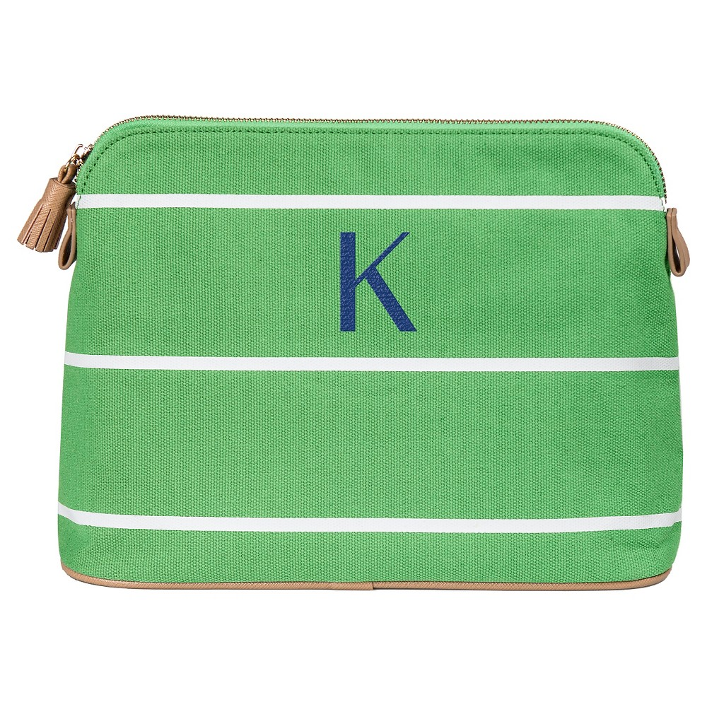Personalized Green Striped Cosmetic Bag - K