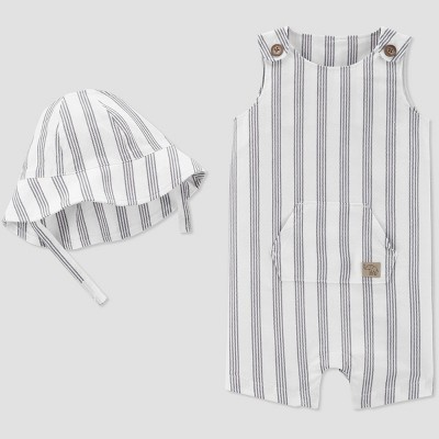 Baby Boys' Striped Romper with Hat - Just One You® made by carter's White/Gray 9M