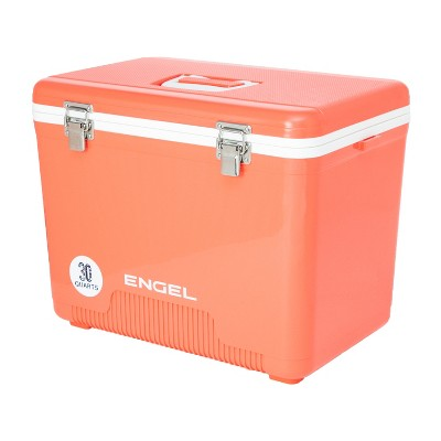 Engel UC30CR 30 Quart 8 Can Leak Proof Odor Resistant Insulated Cooler Drybox with Integrated Shoulder Strap, Coral