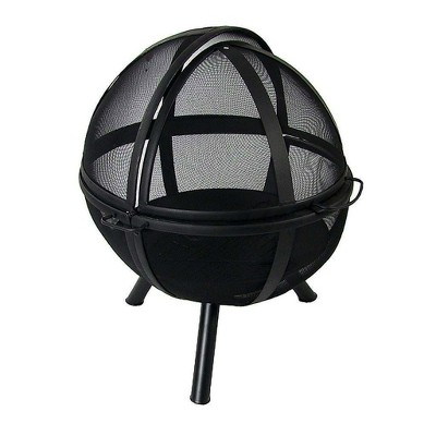 "Black Flaming Ball 30"" Wood Burning Fire Pit - Sphere - Sunnydaze Decor"