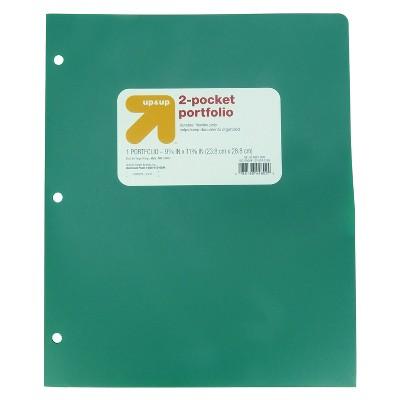 2 Pocket Plastic Folder Green - up & up™