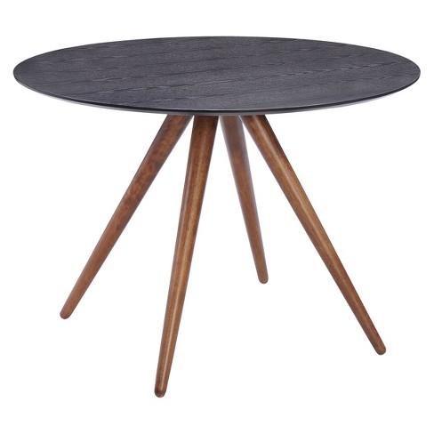 Mid Century Modern 42 Round Dining Table Walnutmatte Black Zm