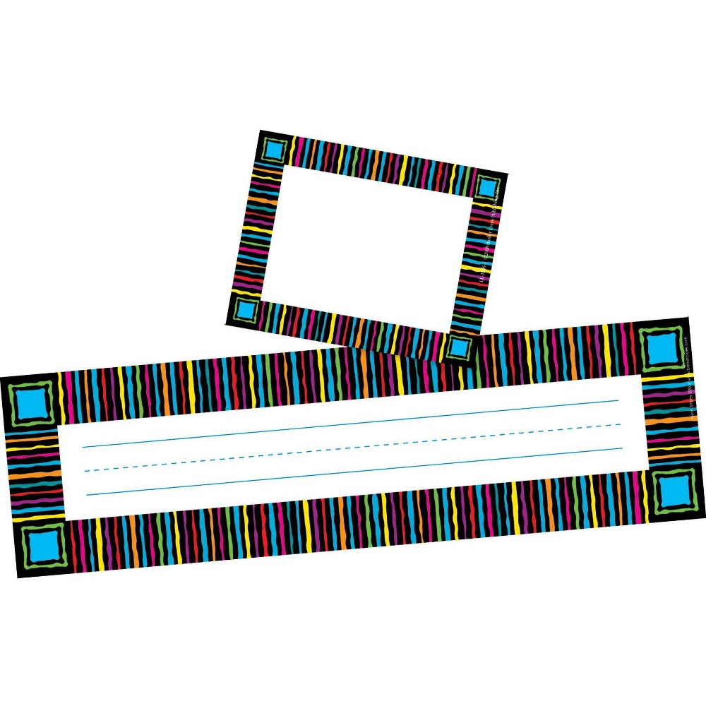 Image of Barker Creek 81pc Neon Stripes Nametag and Name Plate Set