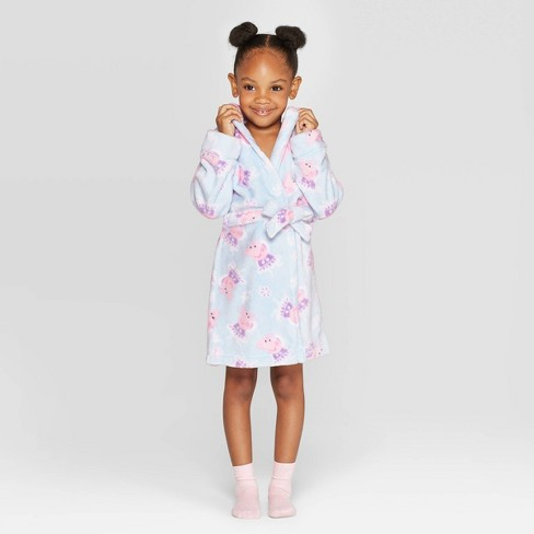 Toddler Girls' Peppa Pig Hooded Robe - Aqua Blue - image 1 of 3