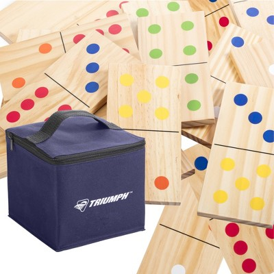 Triumph Sports Large Outdoor Wooden Domino Lawn Bowling Set - 28pc
