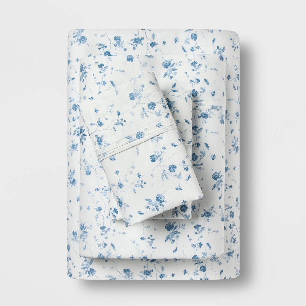 Twin 400 Thread Count Floral Print Cotton Performance Sheet Set White/Blue Floral - Threshold