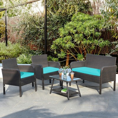 Costway 4  PCS Outdoor Rattan Furniture Set Patio Wicker Sofa w/Tempered Glass Table Cushioned Chair