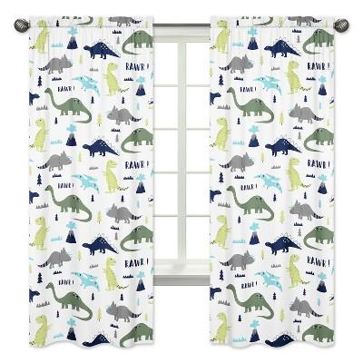 Sweet Jojo Designs Window Panels - Blue & Green Mod Dino - 2pk