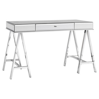 Candance Glam Mirrored Sawhorse Writing Desk - Chrome - Inspire Q