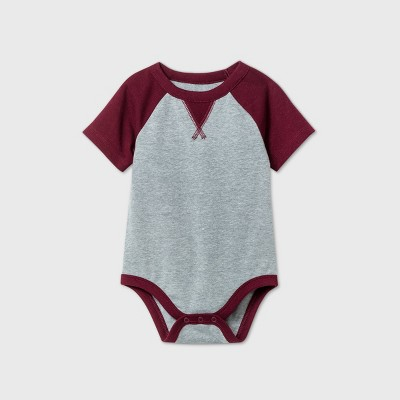 Baby Boys' Short Sleeve Bodysuit - Cat & Jack™ Burgundy 3-6M
