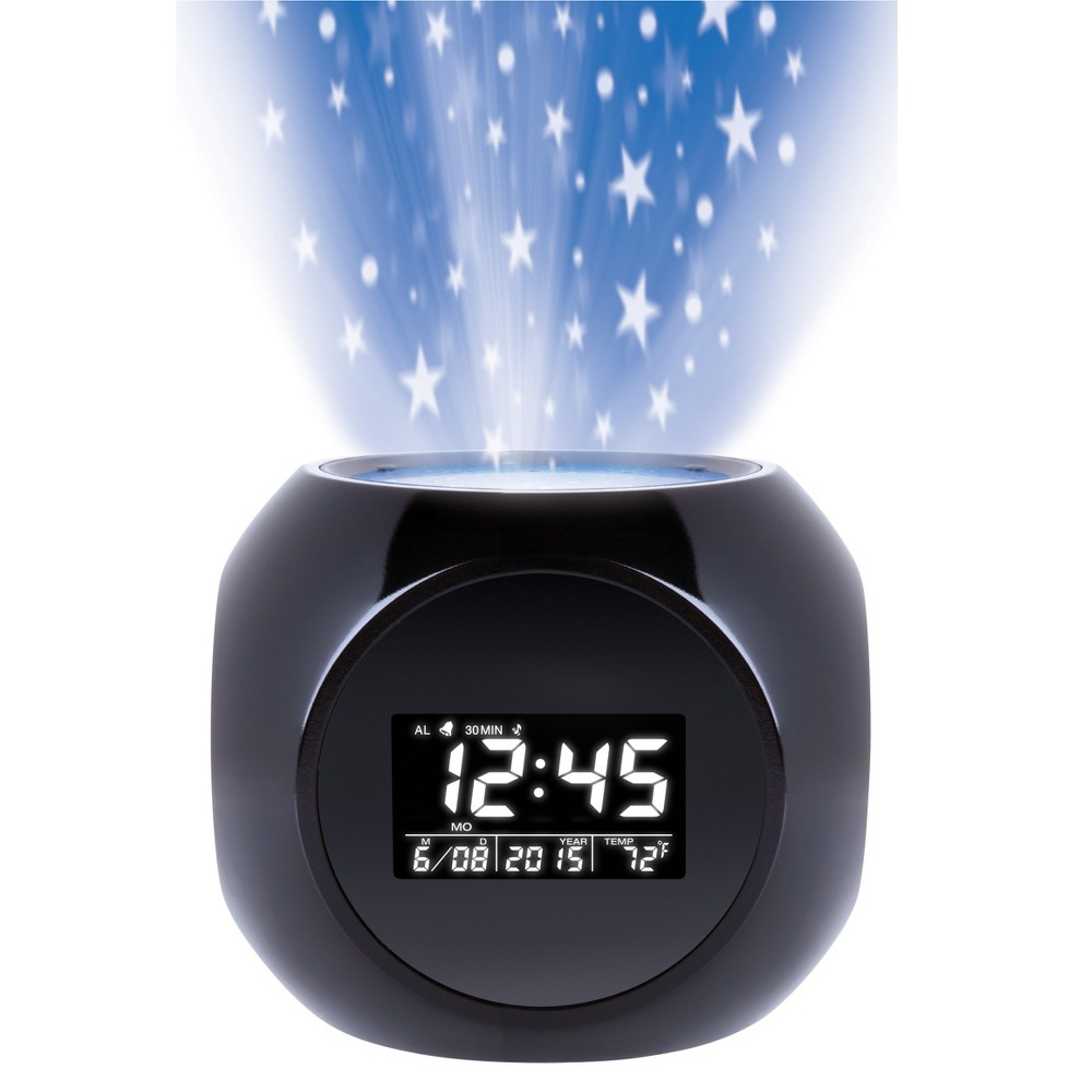 Sharper Image Clock Radios, Black The Sharper Image projection Alarm Clock fills room with colorful stars for dramtic effect with an easy soft touch control pannel. Nature sound therapy and unique star projection paterns. Alarm clock features 6 different soothing nature sounds that lull you to sleep. 12/24 hr time display, date, F/C temps, alarms and more Color: Black. Age Group: Adult.