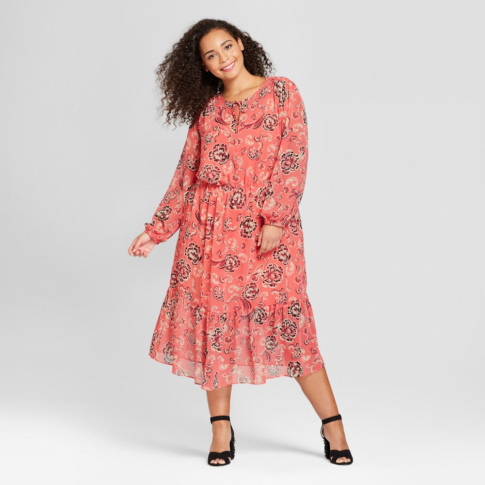 Women's Plus Size Flowy Maxi Dress - Who What Wear Pink Floral 2X