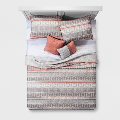 5pc Full/Queen Dayton Geometric Quilt Set Coral