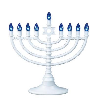 "Rite Lite 11.5"" Traditional Style LED Battery Powered Hanukkah Menorah - White/Blue"