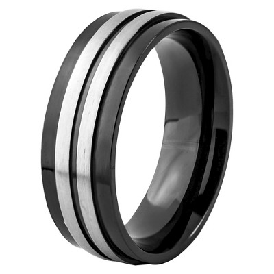 Men's Crucible Blackplated Stainless Steel Brushed and Polished Striped Ring