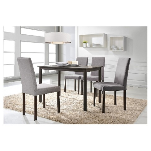 Andrew Contemporary 5 Piece Dining Set Dark Brown Gray Baxton