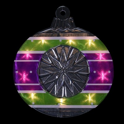 "Impact Innovations 15.5"" Lighted Purple and Green Shimmering Ornament Christmas Window Silhouette Decoration"