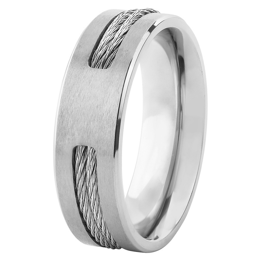 Men's Titanium Double Steel Cable Inlay Ring, Size: 12, Silver