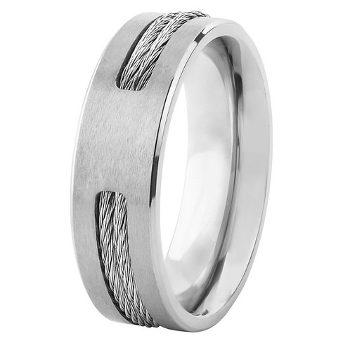 Men's Titanium Double Steel Cable Inlay Ring - West Coast Jewelry - image 1 of 5