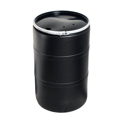 Hydrofarm Active Aqua DRM58T 55 Gallon Drum Hydroponic Reservoir with Pre-Drilled Holes Cover Lid and Bolt Ring Closure, Black